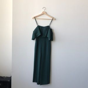 H&M Midnight Green Jumpsuit with Frilled Sleeves